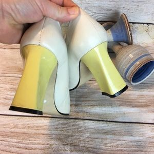 Costa Blanca Shoes - Costablanca Vintage Leather Heels White & yellow